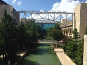 The Henry B. Gonzalez Convention Center--it is right on the River Walk! Can't beat that view with a stick!