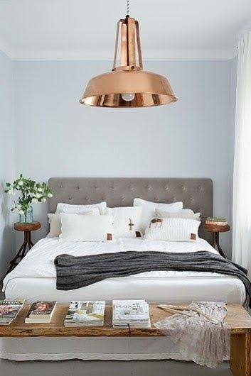 Another neat pop of copper in a light fixture. Love this look.  Image via: I Love My Interior