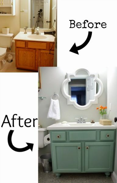 This does not even look like the same room! The mirror is used as a focal point and really makes the room. This was also a DIY budget remodel, check out the details at Lively Green Door. Amazing!